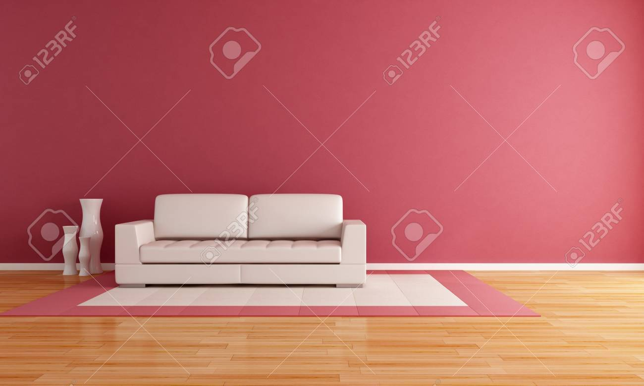white couch in a modern lounge - rendering Stock Photo - 8652055