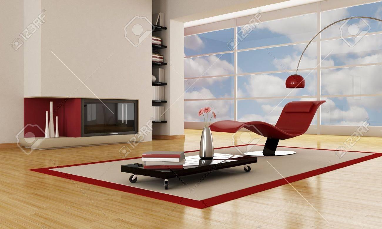 Moderne luxus kamine  Luxus Modernen Wohnzimmer Mit Minimalistischen Kamin Lizenzfreie ...