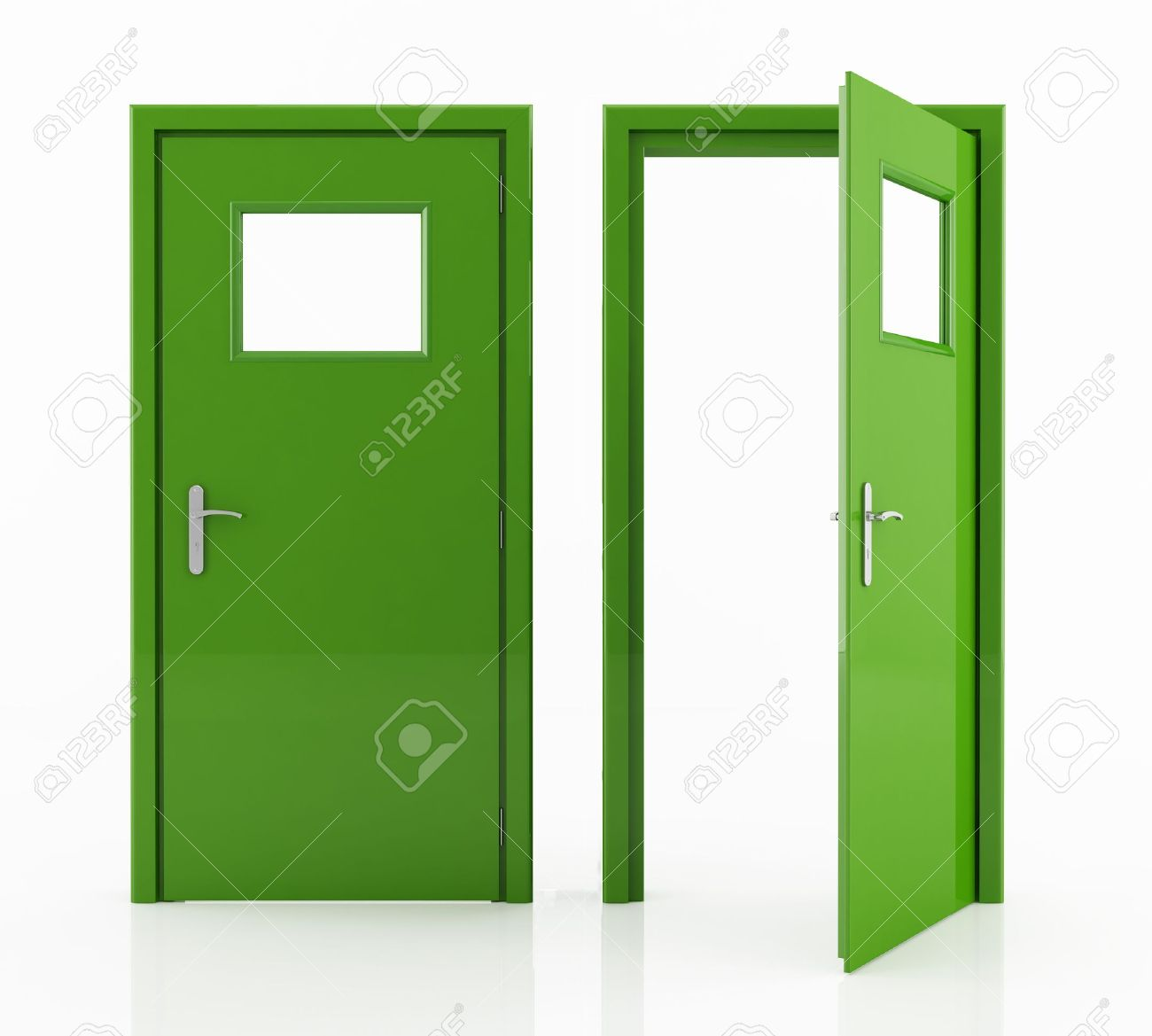 open and closed green door isolated on white - rendering Stock Photo - 8770072