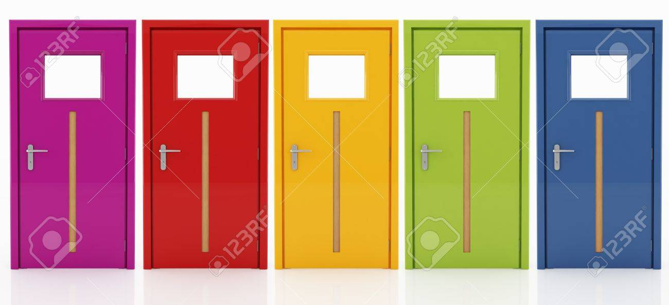 Five Doors In Different Colors With Wooden Insert Isolated On White Stock Photo - 8770074 : five doors - pezcame.com