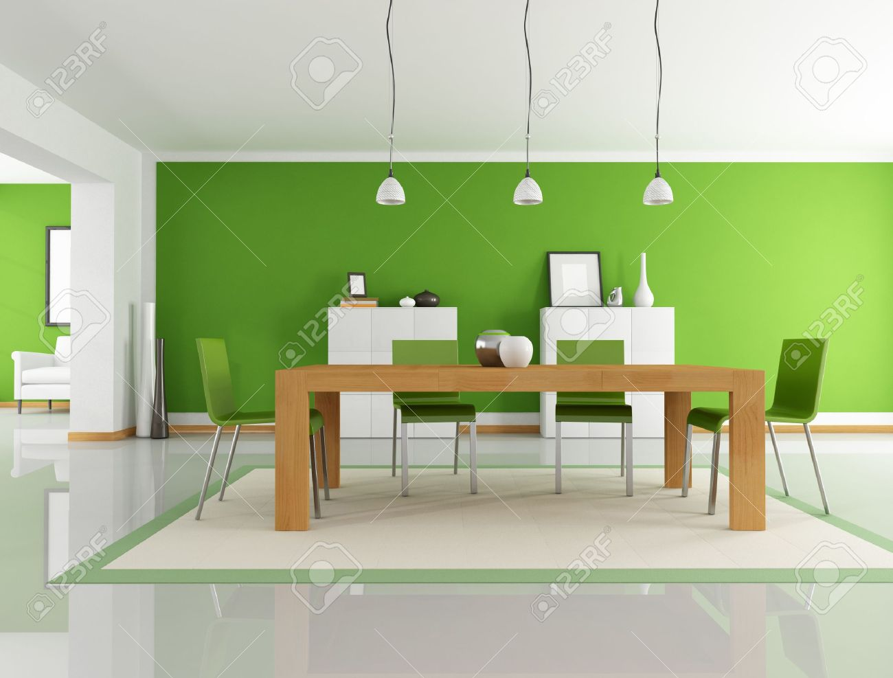 Modern dining room green - Modern Dining Room With Wooden Table And Green Chair Rendering Stock Photo 8874787