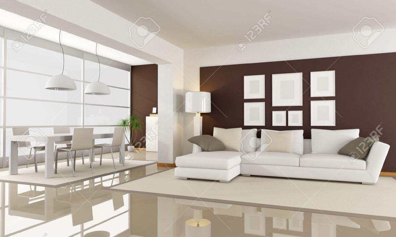 moderne wohnzimmer mit essbereich space - rendering lizenzfreie ... - Wohnzimmer Mit Essbereich