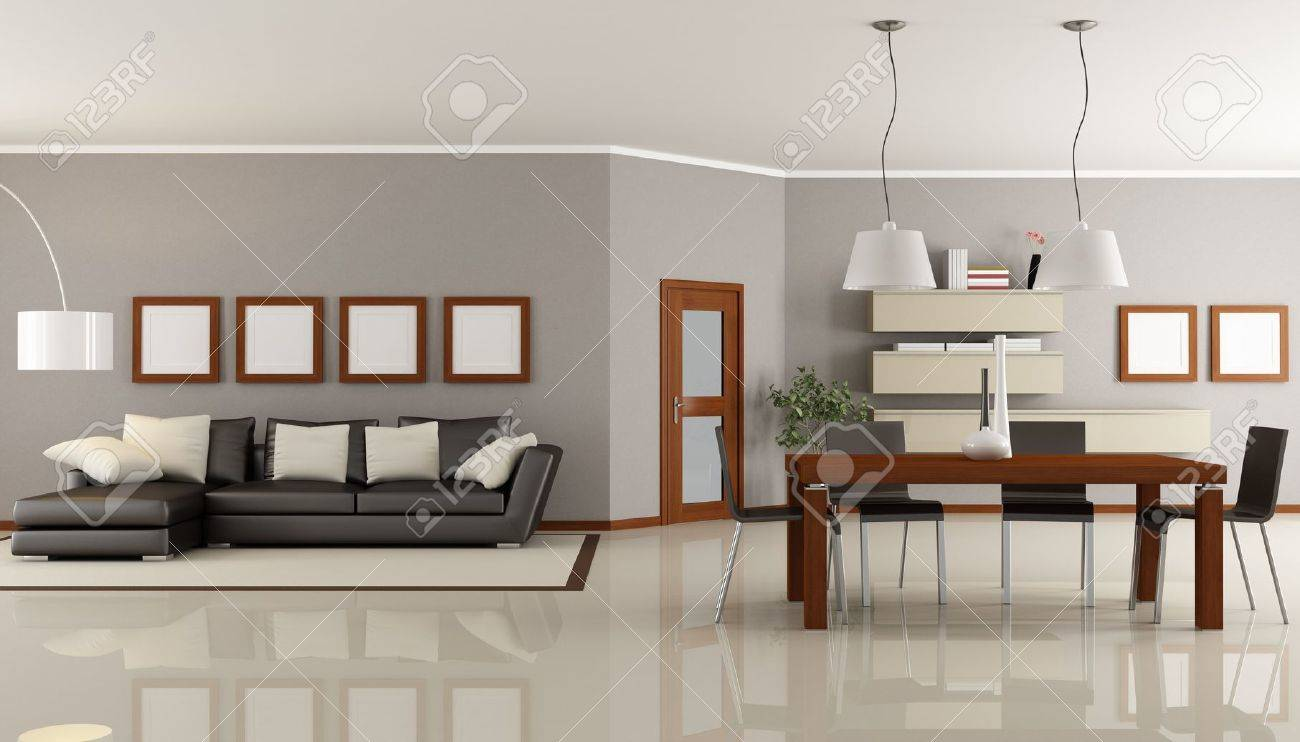 contemporary living room with dining space - rendering Stock Photo - 8874831
