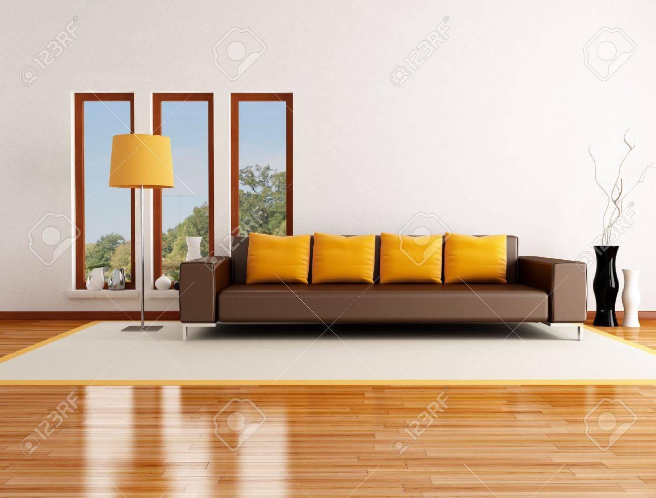 Moderne wohnzimmer in einem landhaus rendering das bild auf hintergrund ist ein mein foto