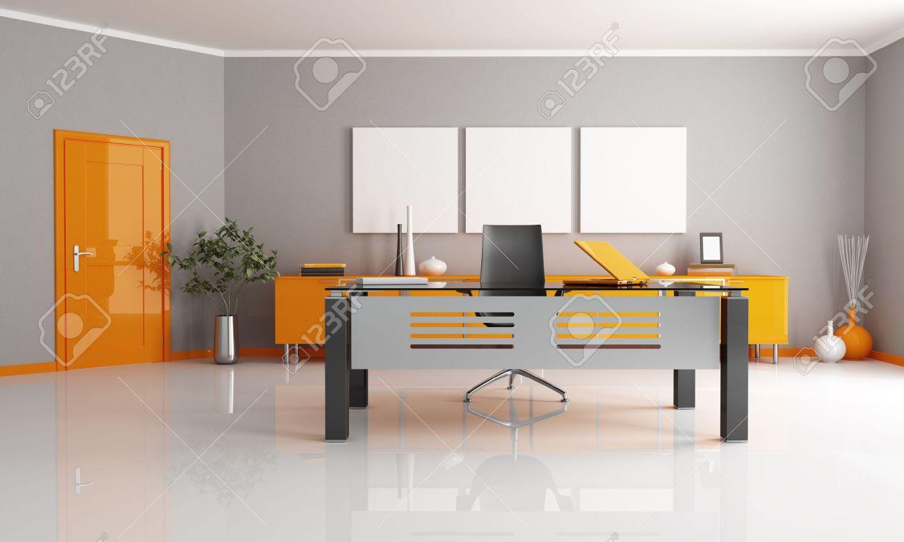 Espace de bureau gris et orange   rendu banque d'images et photos ...