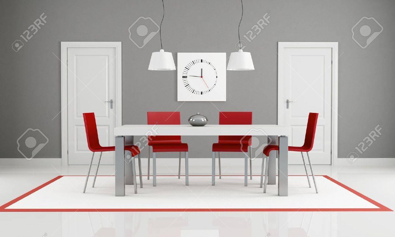 Puertas De Comedor | Gris Y Rojo Comedor Con Dos Puertas Blanco Representacion Fotos