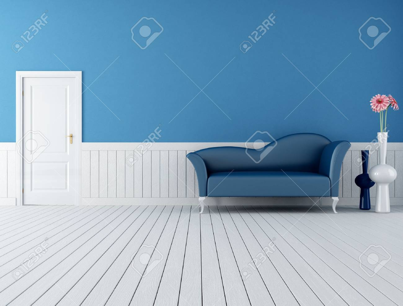 Modern blue sofa in a retro interior with plank wood floor