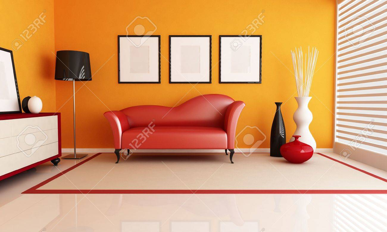 contemporary living room with fashion red couch - rendering Stock Photo - 9165928