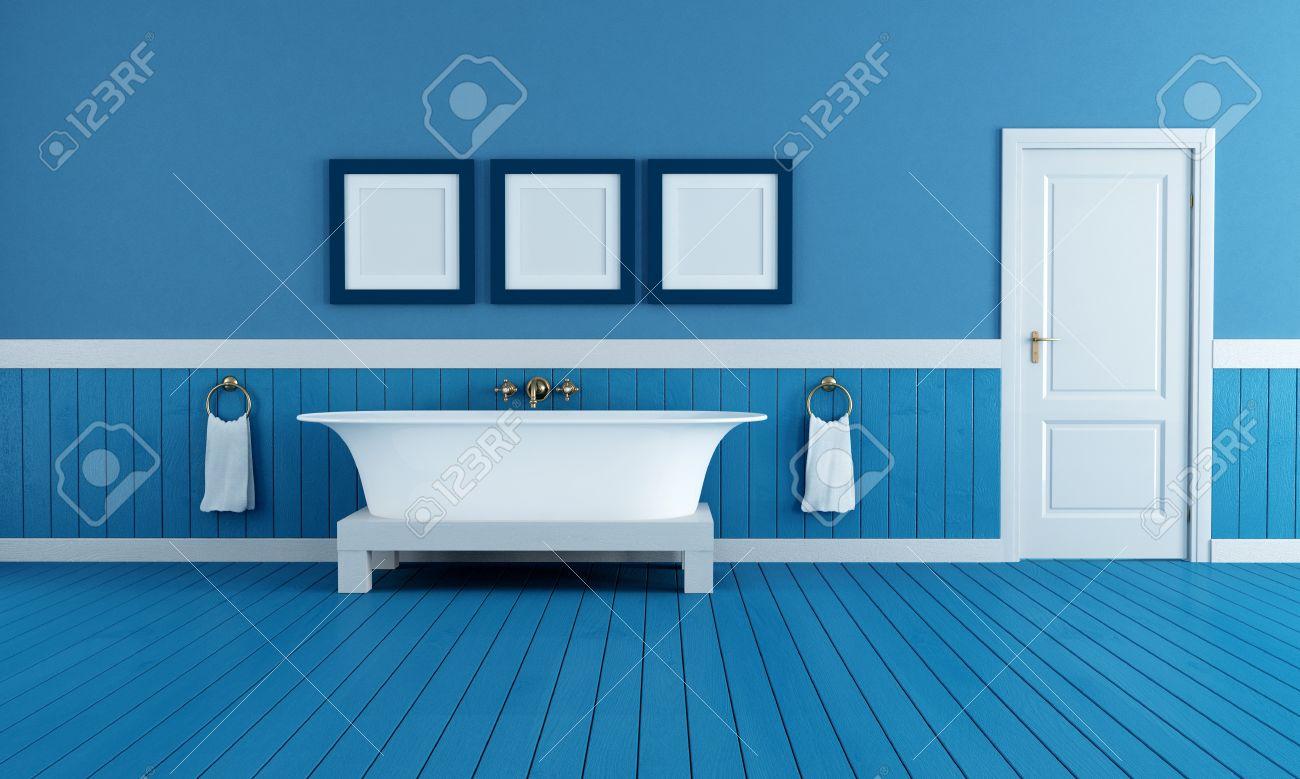 alten stil badewanne im retro badezimmer mit blauen dielenboden