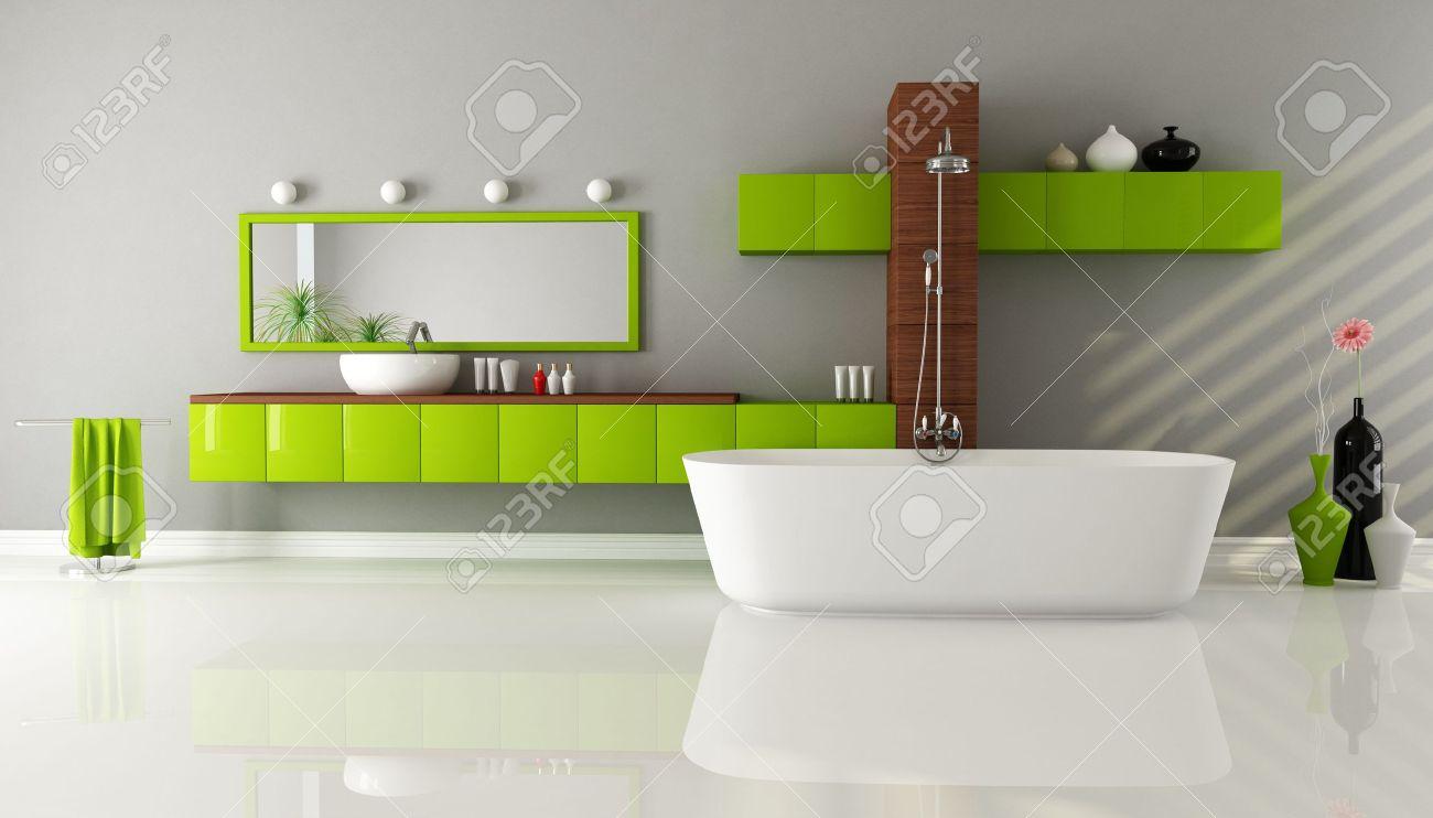 bagno moderno con vasca da bagno lavandino e doccia - rendering ... - Bagni Moderni Con Vasca E Doccia