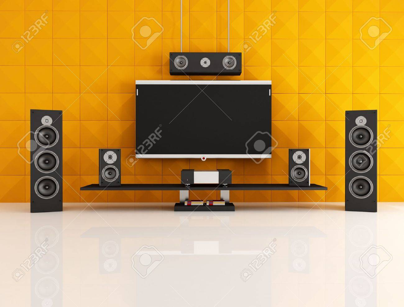 black and orange home theater with acoustic panel - rendering Stock Photo - 9179593