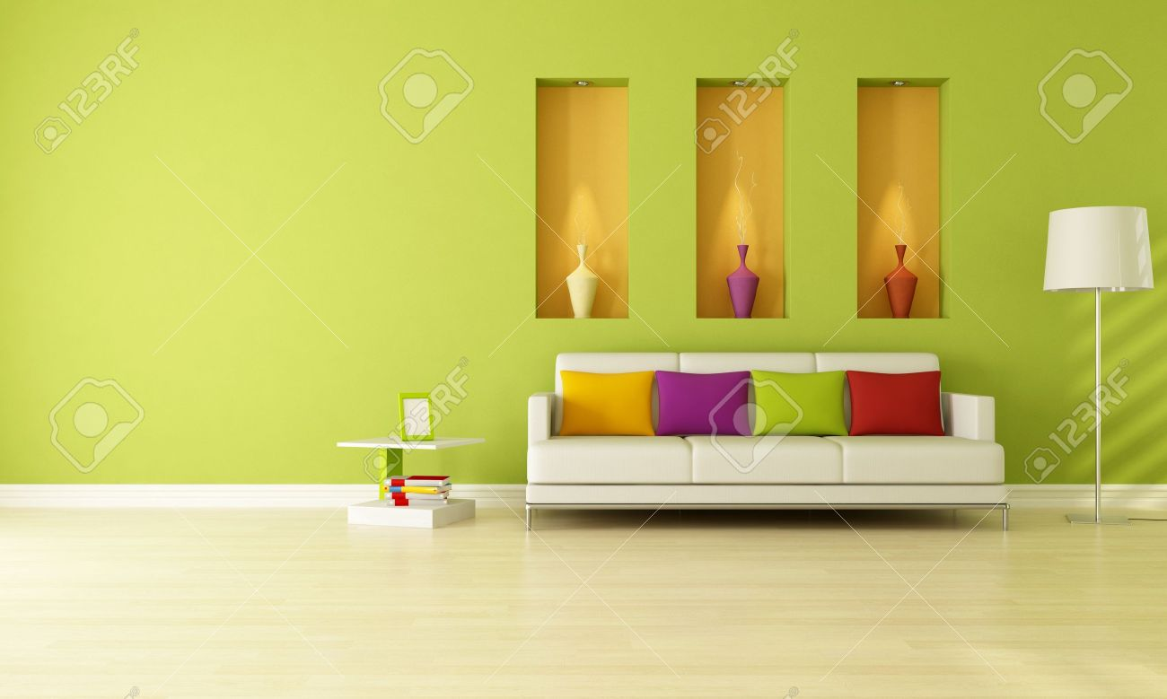 minimalist green living room with three niche rendering stock minimalist green living room with three niche rendering stock photo 9277263