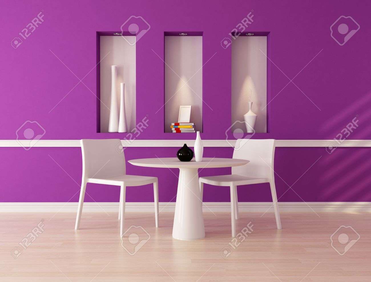 minimalist purple dining room with niche - rendering Stock Photo - 9277271