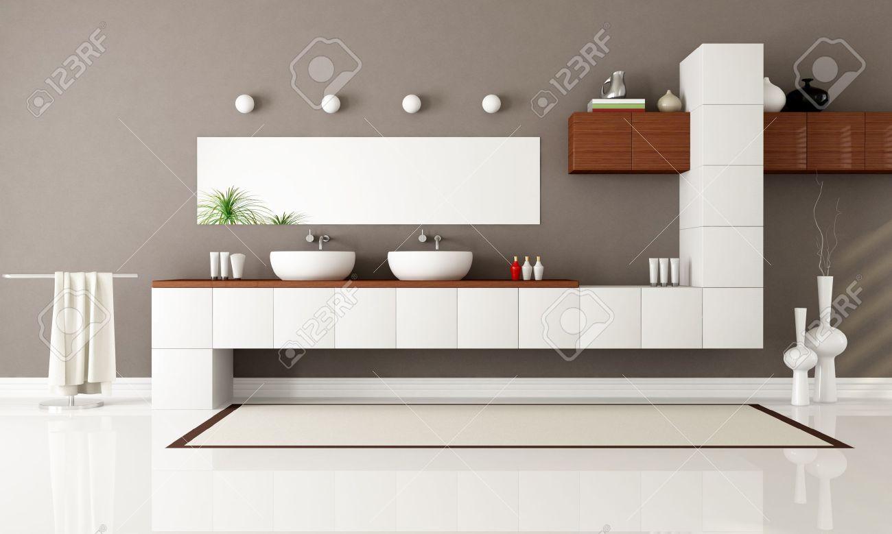 bagno moderno bianco e marrone con due sink - rendering foto ... - Bagni Moderni Beige E Marrone