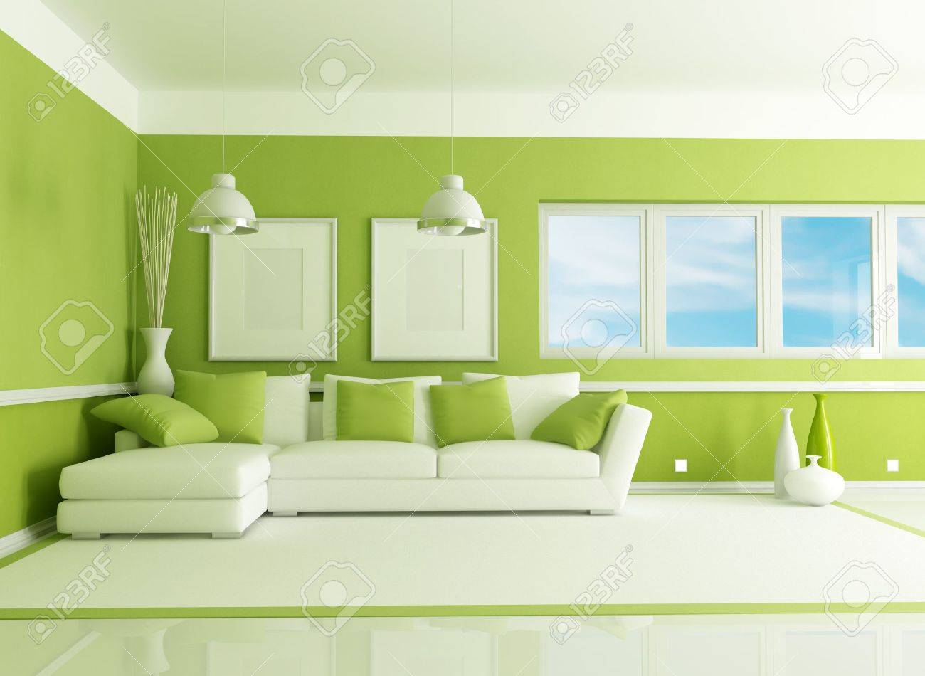 Salon Vert Contemporain Avec Canape D Angle Rendu