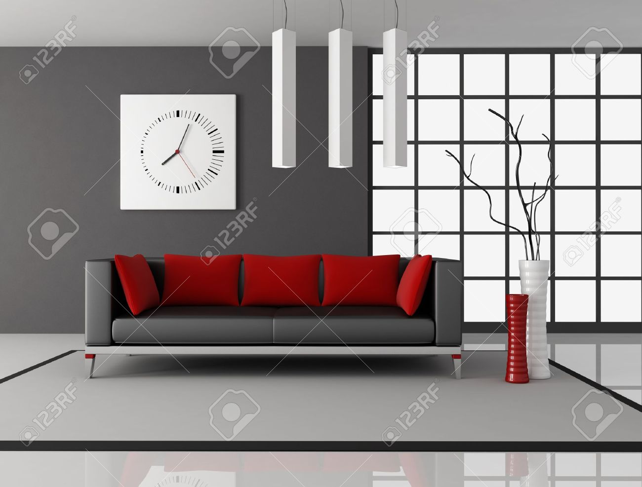 Black And Red Living Room With Leather Couch With Pillow   Rendering Stock  Photo   9276037