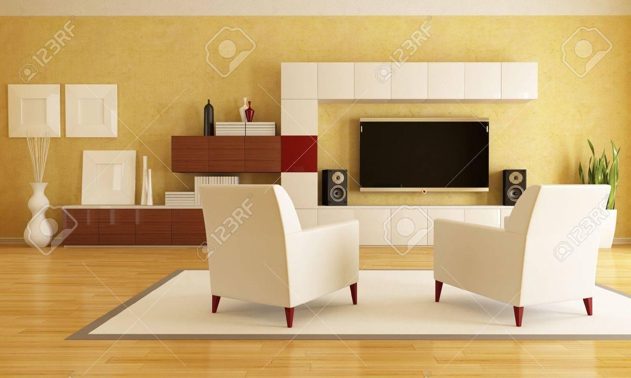 elegant living room with flat tv - rendering Stock Photo - 9302228
