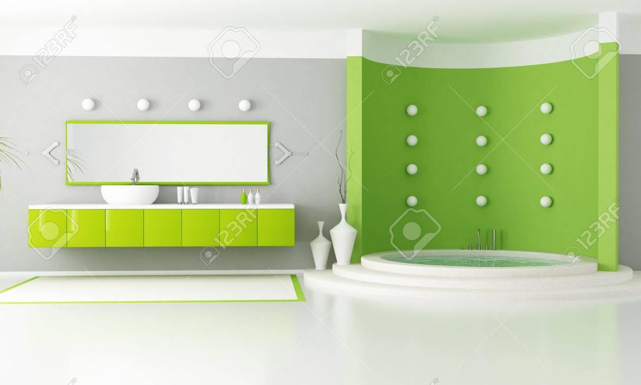Groene moderne badkamer met circulaire luxe bad   rendering ...