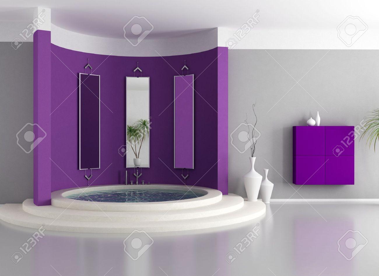banque dimages purple moderne salle de bains avec baignoire de luxe circulaire rendu - Salle De Bain Moderne Avec Baignoire