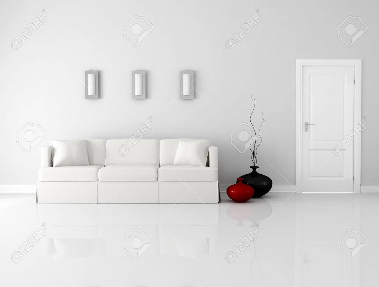 minimalist white interior with elegant sofa and door - rendering Stock Photo - 9390494 & Minimalist White Interior With Elegant Sofa And Door - Rendering ...