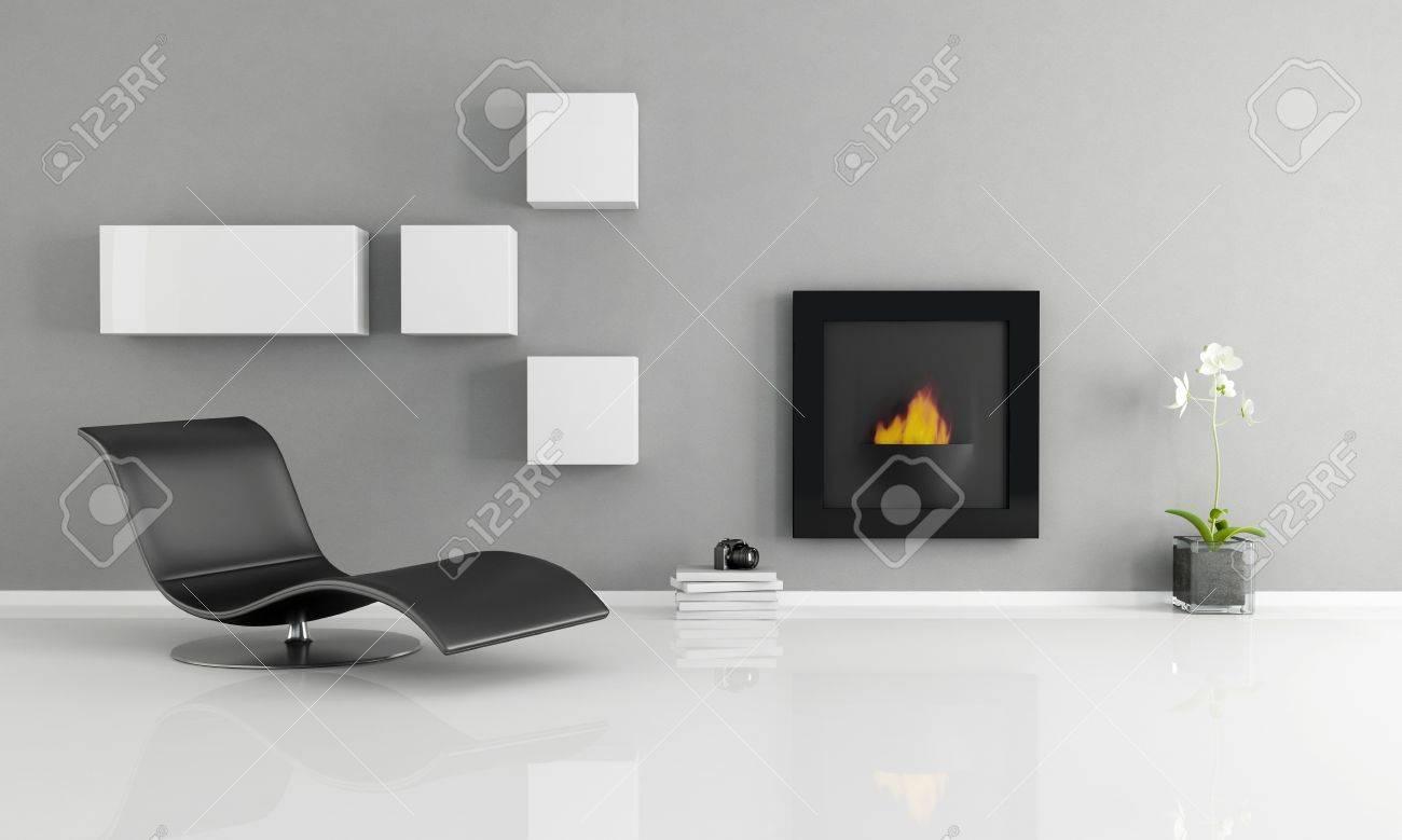 Minimalistische interieur met essentiële open haard rendering