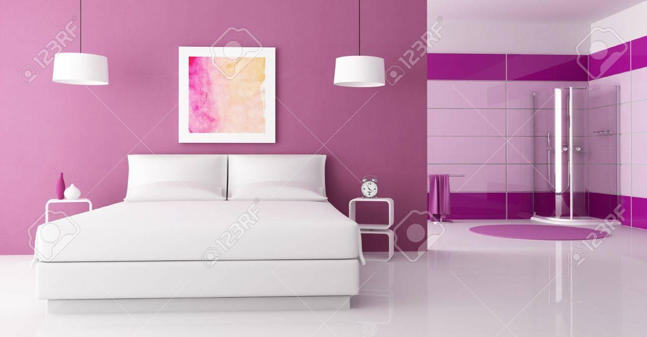 Purple chambre avec lit double et cabine douche rendu the art ...