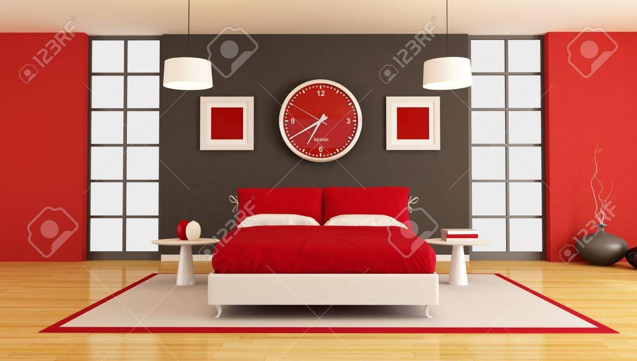 3d contemporain rouge et noir chambre   rendu banque d'images et ...