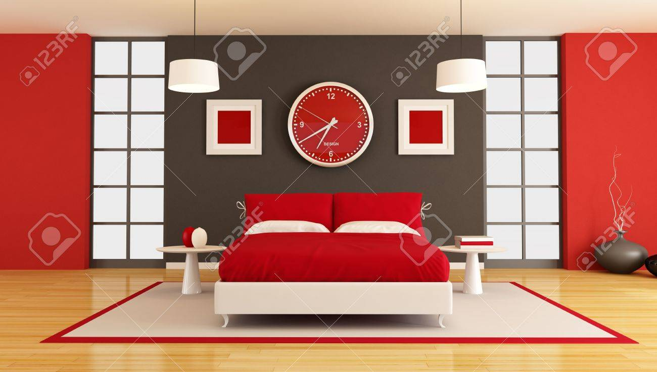 3D contemporary  red and black bedroom - rendering Stock Photo - 9502846