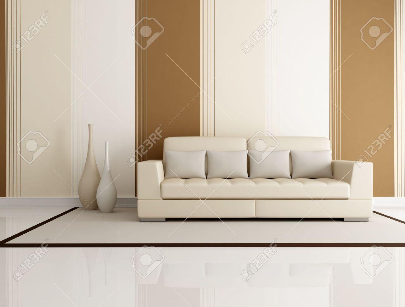 Salon Beige Et Marron Avec Un Canape Beige Et Papier Peint Rendu