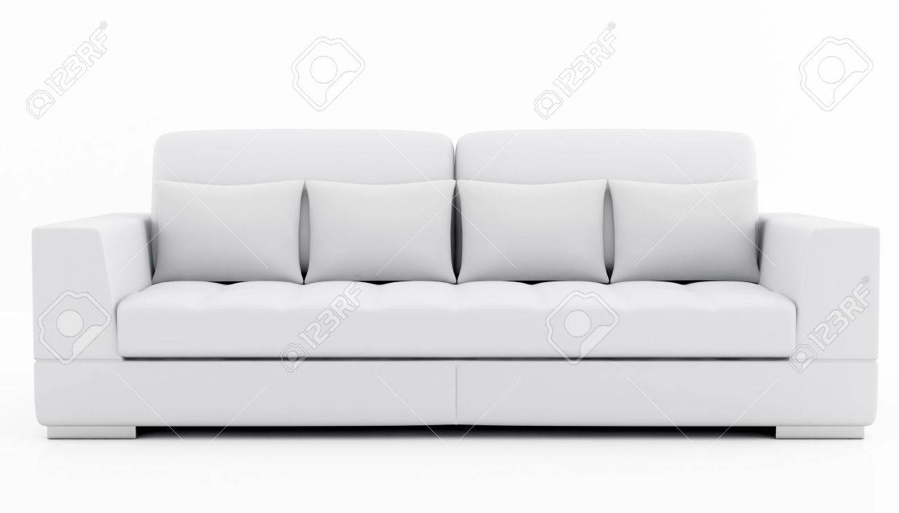 Delightful White Sofa: Elegant Couch Isolated On White   Rendering