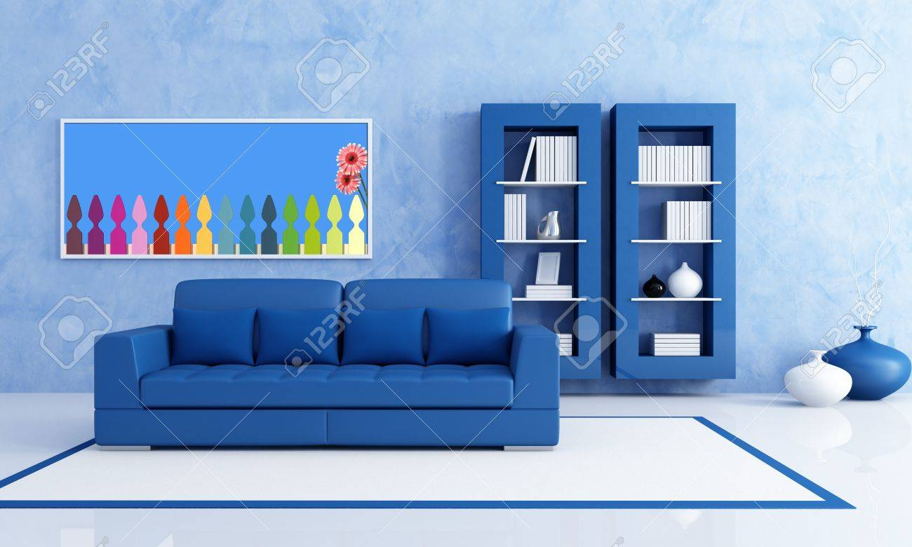 Blue Bookcase contemporary blue living room with bookcase - rendering- the