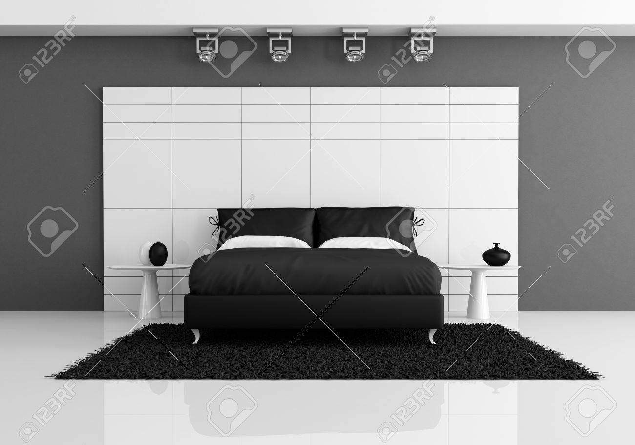 Finest Noir Et Blanc Chambre Coucher Avec Un Lit Double Contre Le Panneau  Blanc Rendu With Chambre A Coucher Noir