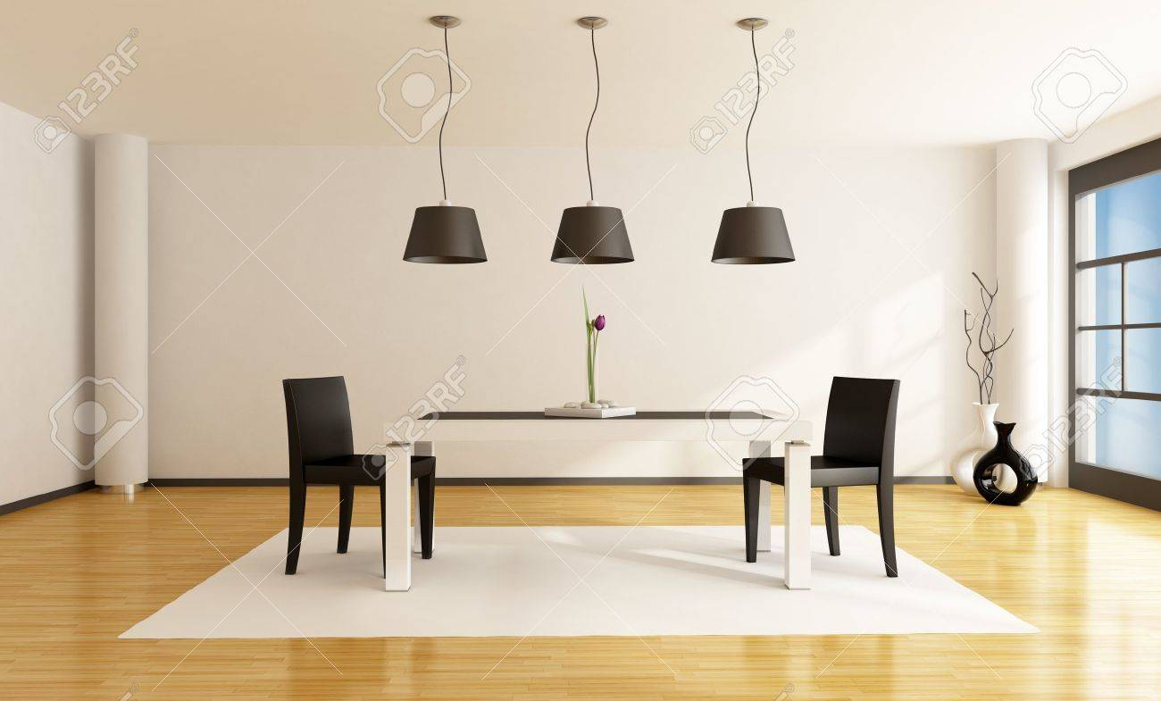 minimalist dining room with white table and two black chairs - rendering Stock Photo - 9675633