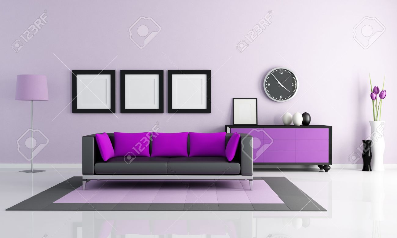 Contemporary Purple And Lilla Living Room - Rendering Stock Photo ...