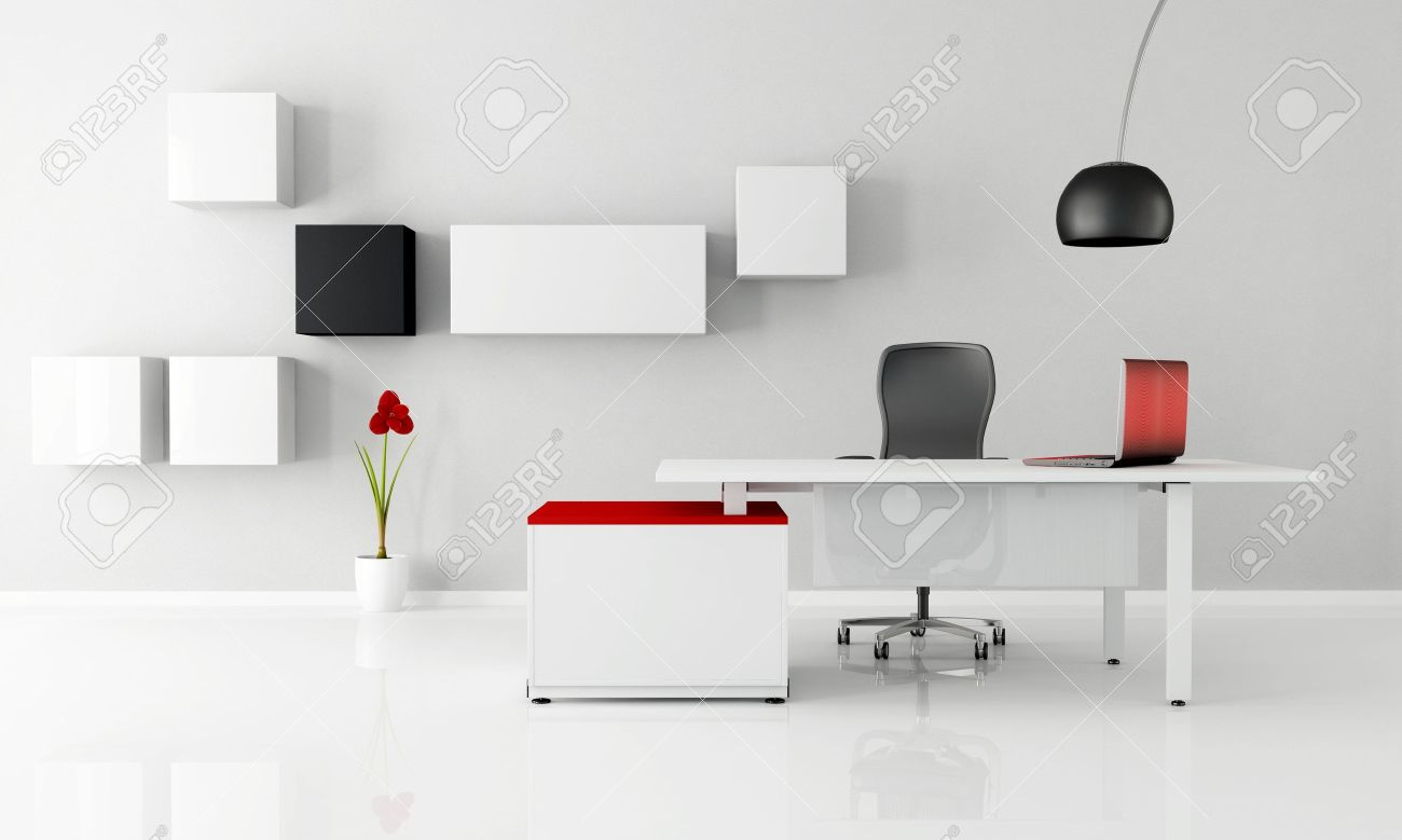 Minimalist Office With White Desk Laptop And Cabinet - Rendering ...