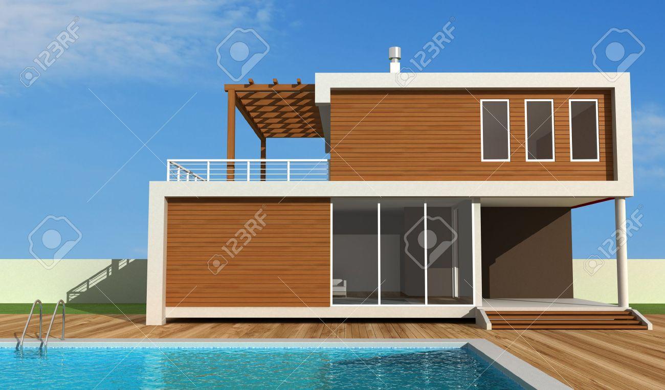 Maison Moderne De Luxe Avec Rendu De Piscine - Conception ...
