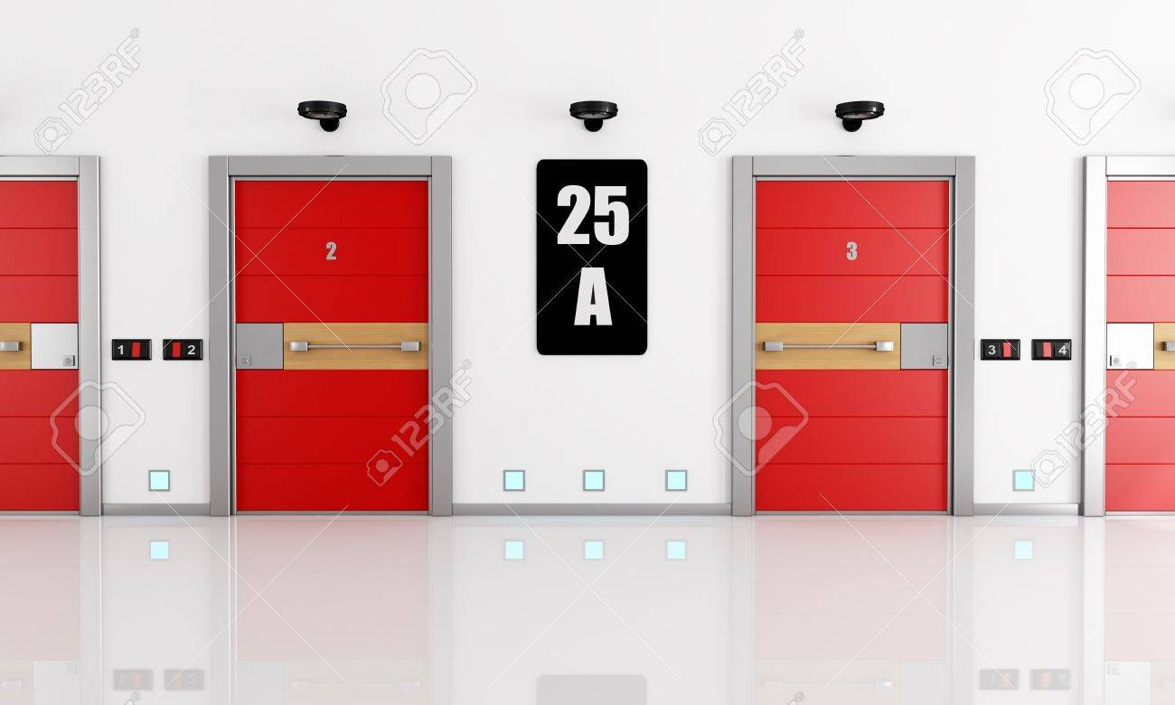 contemporary entrance hall with steel red armored doors- rendering-esclusive design Stock Photo - & Contemporary Entrance Hall With Steel Red Armored Doors- Rendering ... Pezcame.Com