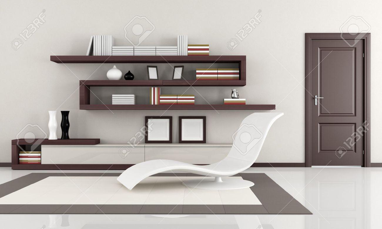 Beige och brunt eleganta minimalistiska vardagsrum   rendering ...