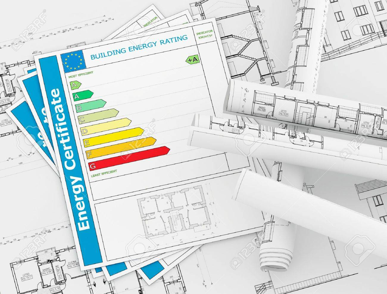 Energy certificate with rolls of architecture blueprint energy certificate with rolls of architecture blueprint rendering stock photo 10485154 malvernweather Image collections