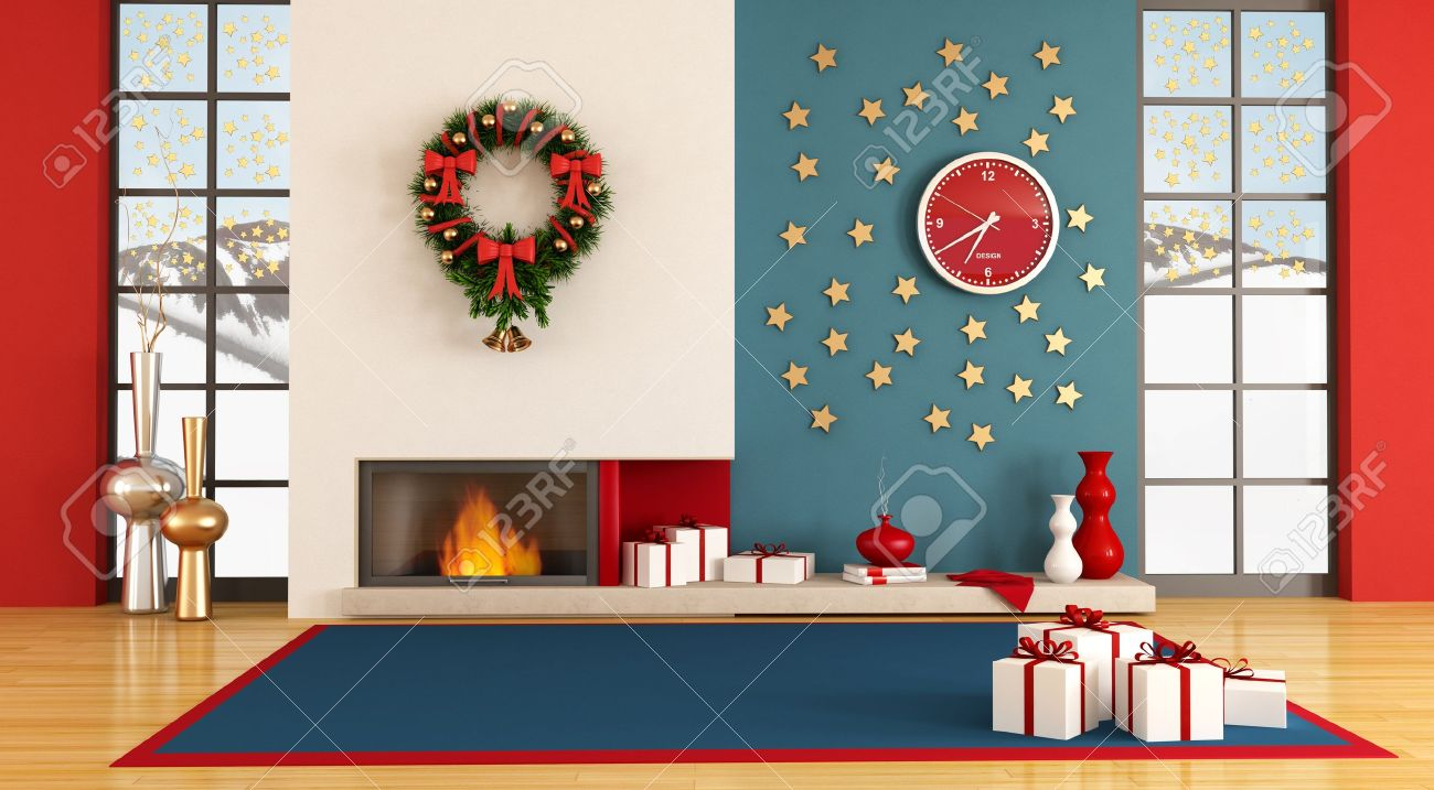 Empty living room with christmas decor - rendering- the image on background is a my photo Stock Photo - 10534584