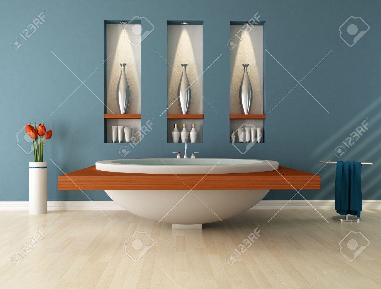 Modernes Bad Wih Kreisförmige Badewanne Und Nischen - Rendering ... Nischen Im Badezimmer