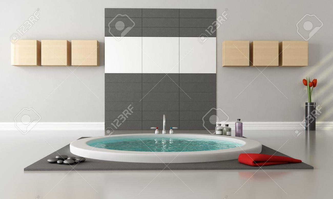 Minimalist Luxury Bathroom With Circular Bathtub Rendering Stock Photo    10698267