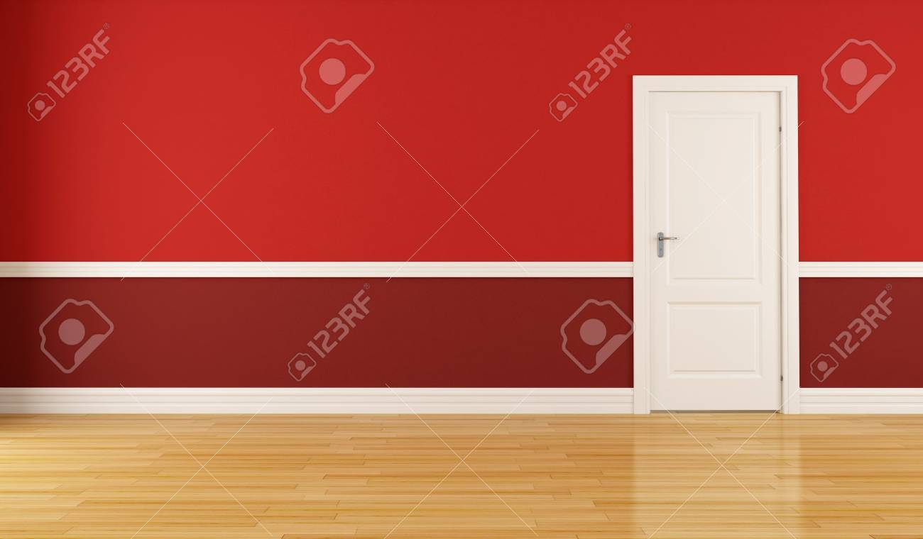 Empty red room with closed white door Stock Photo - 10698268