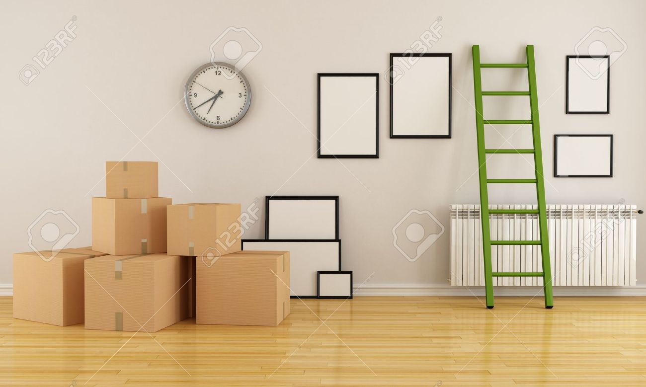 . home interior with cardboard boxes ladder and empty frame rendering