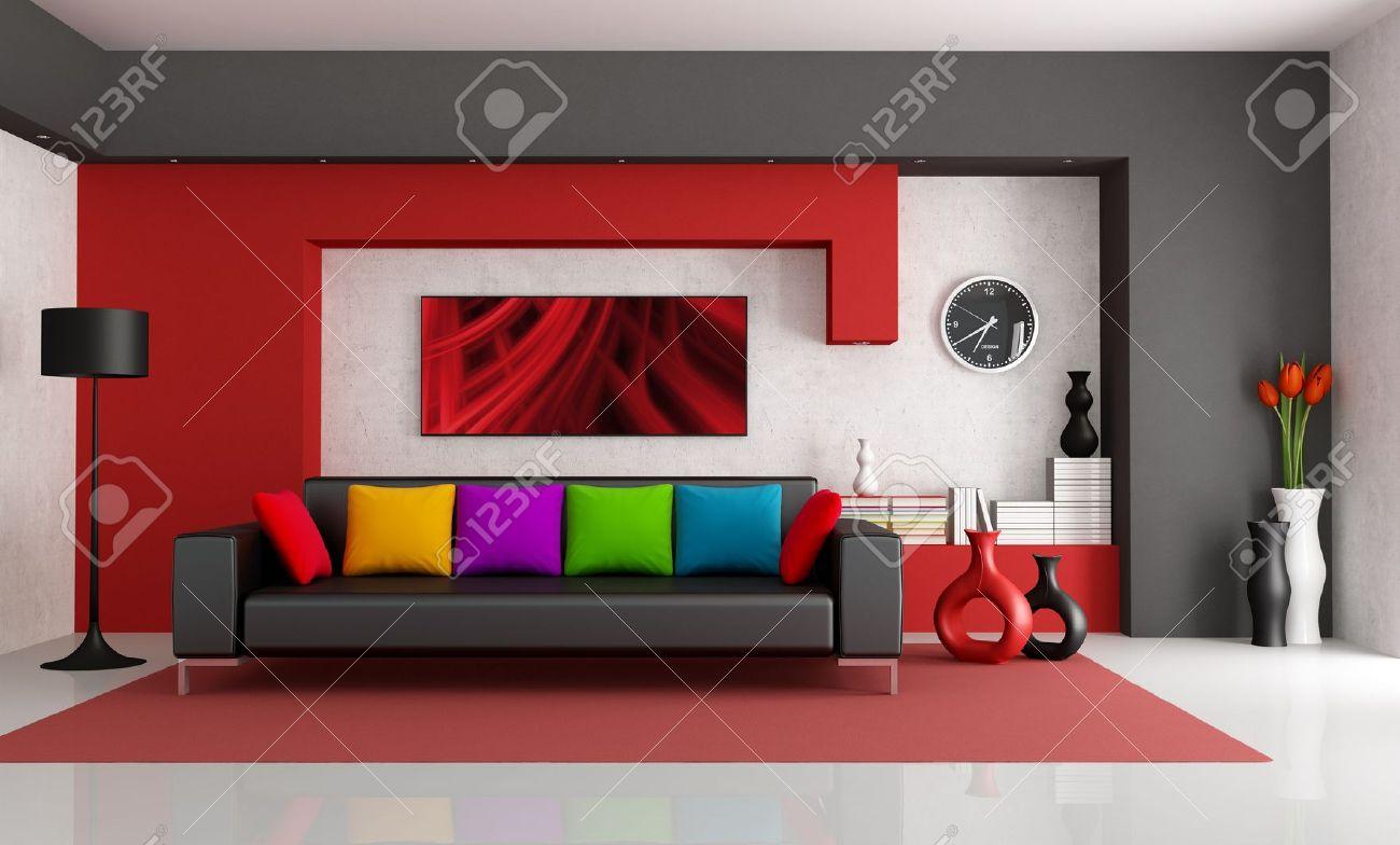 Rot Weiß Und Schwarz Modernes Wohnzimmer Mit Schwarzen Couch    Rendering The Art Bild