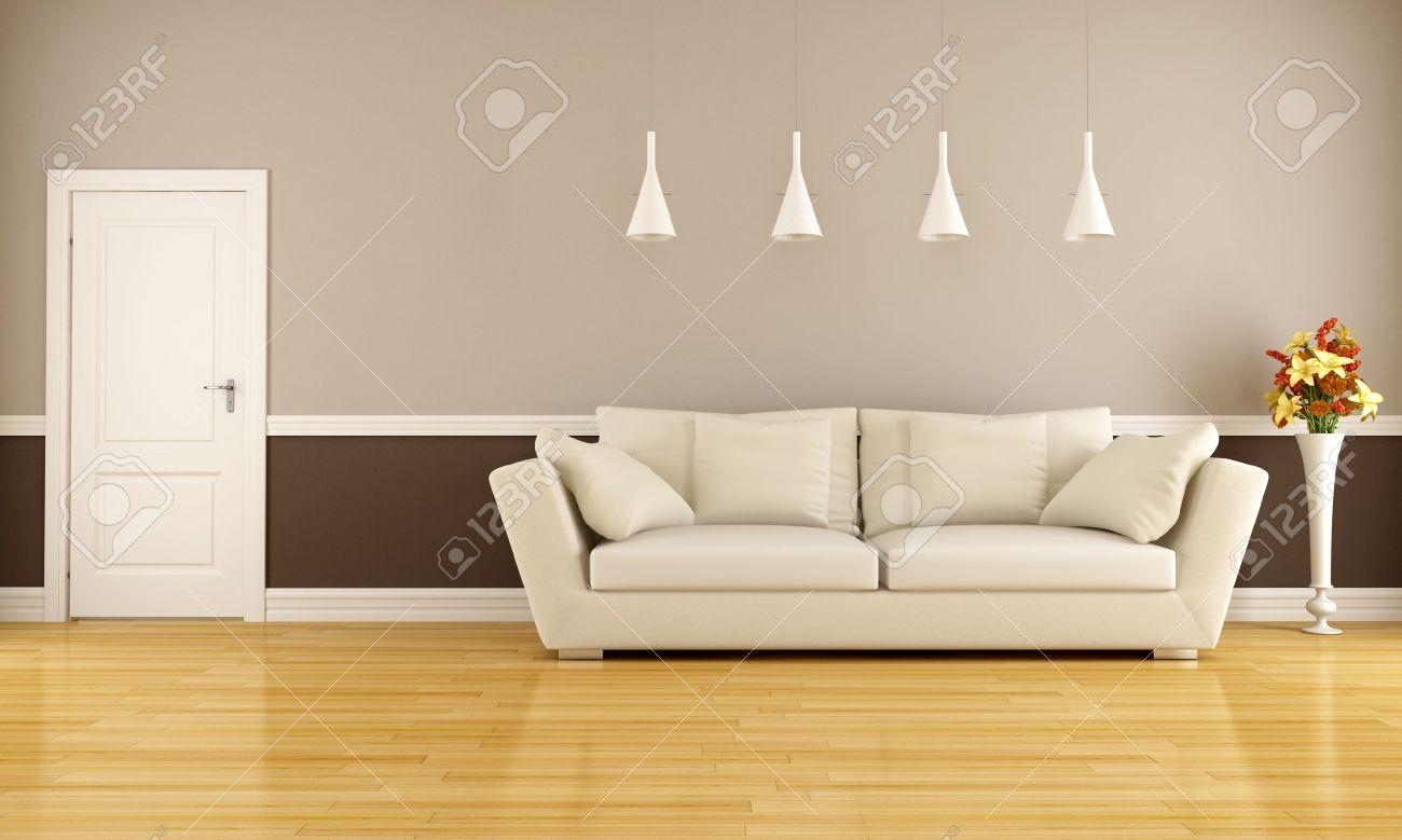 Beige and brown living room with sofa and door - rendering
