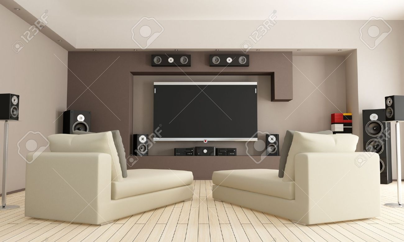 Elegant Living Room With Home Theatre System - Rendering Stock Photo ...