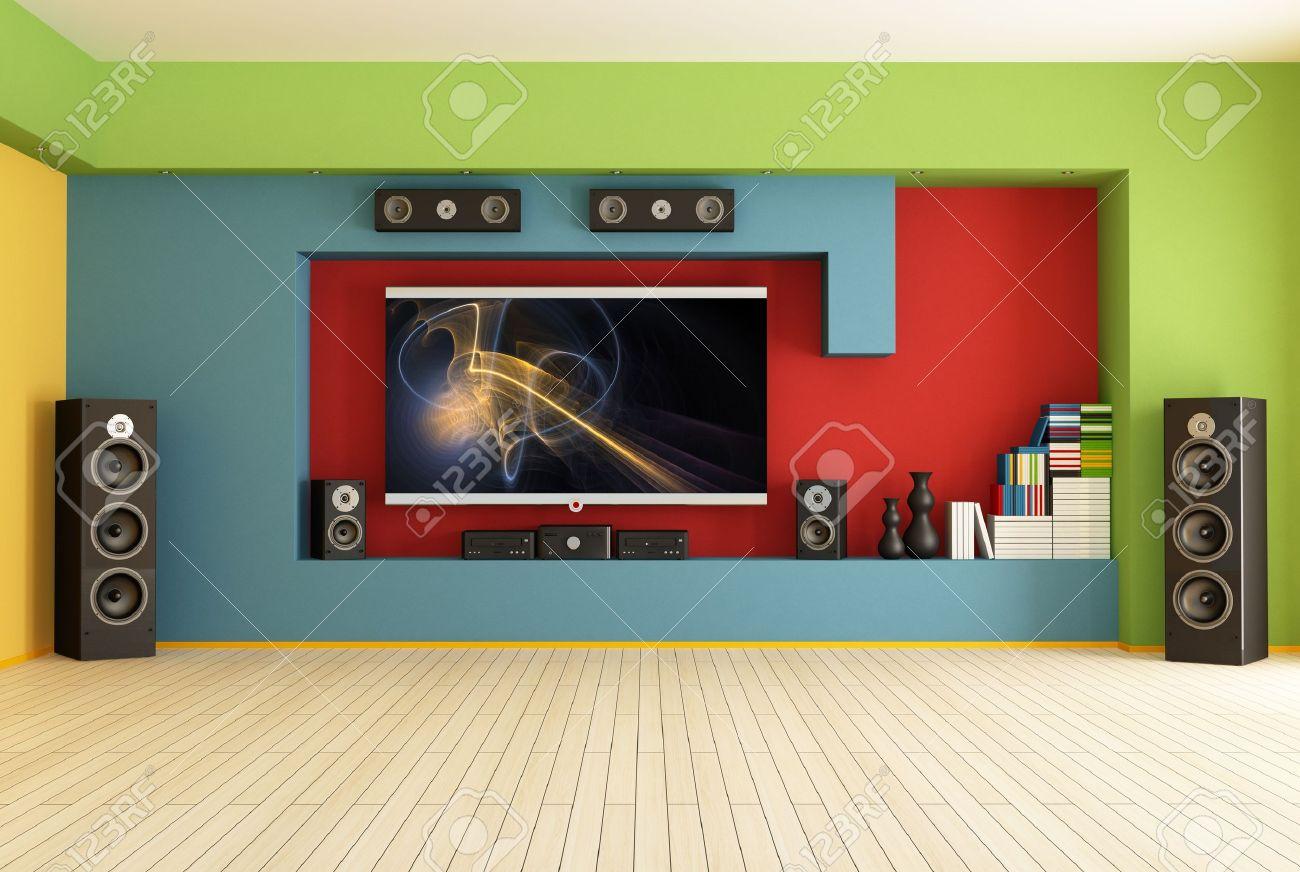 Leer Bunten Wohnzimmer Mit Heimkino System Rendering Bild Auf Dem Bildschirm Ist Eine