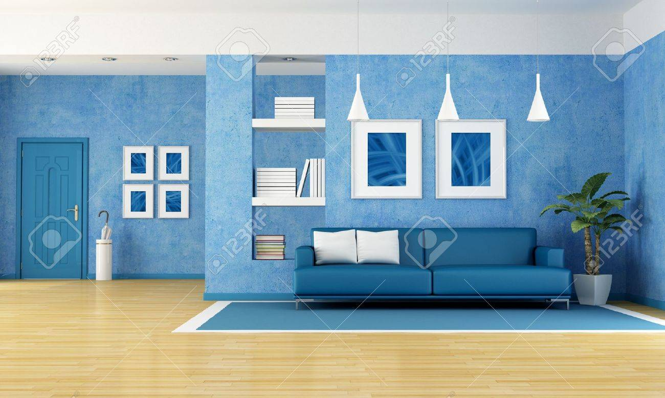Contemporary Living Room With Blue Sofa And Door Rendering The Art Pictures  On Wall