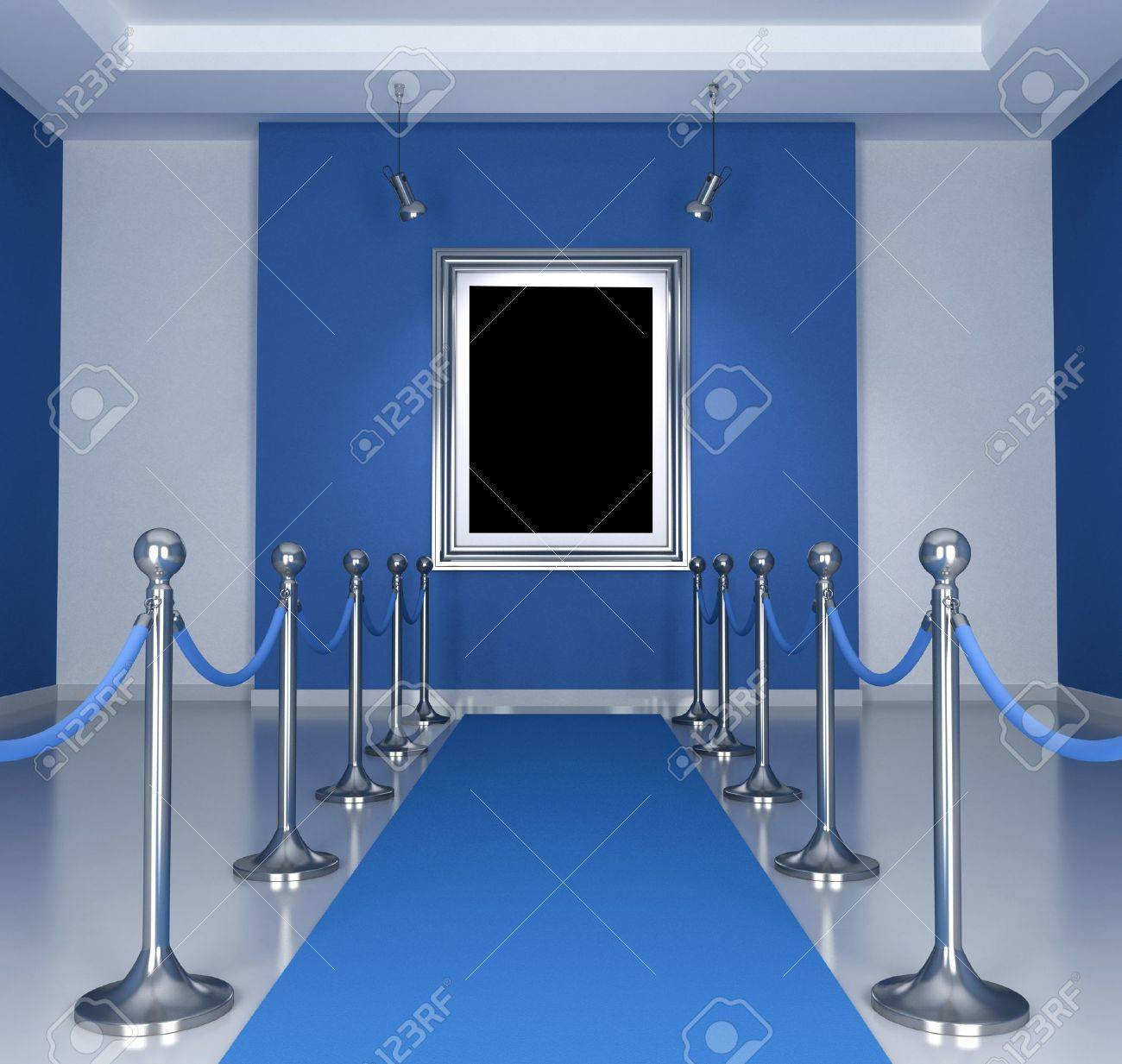 Museum with blue  carpet and barrier rope- rendering Stock Photo - 11015785